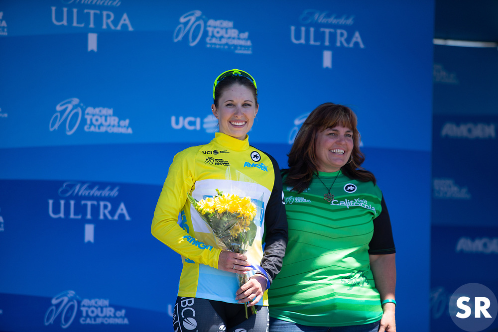 Kendall Ryan (USA) of Tibco-Silicon Valley Bank Cycling Team celebrates wearing the overall leader's yellow jersey after Stage 1 of the Amgen Tour of California - a 124 km road race, starting and finishing in Elk Grove on May 17, 2018, in California, United States. (Photo by Balint Hamvas/Velofocus.com)