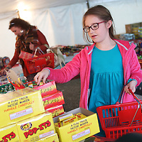 Lauren Wood | Buy at photos.djournal.com<br /> Allie Whipple, 9, picks up some for different fireworks Wednesday afternoon as she shops with her family at a firework stand along old Highway 6 for New Year's Eve.