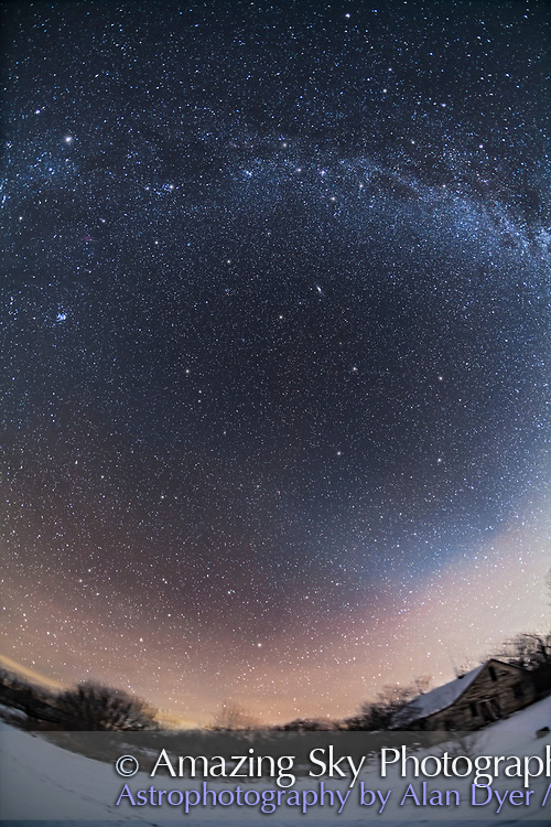 A single-frame panorama with the 15mm ultrawide fish-eye lens of the autumn sky and constellations from horizon to zenith. The sky extends from Cetus at bottom up to Cassiopeia and Cepheus at top in the Milky Way. The Pleiades is at left, the Andromeda Galaxy above centre. Capella and Auriga are at upper left. The evening Zodiacal Light brightens the sky at lower right, plus haze is moving in and reflecting light pollution to the west. <br /> <br /> Taken from home in southern Alberta on Jan 3, 2016, with the 15mm full-frame fish-eye lens at f/3.2 and Canon 5D MkII at ISO 800 for a stack of 5 x 3-minute exposures, Median combined to eliminate satellite trails. The ground is from one exposure to minimize blurring from the camera tracking.