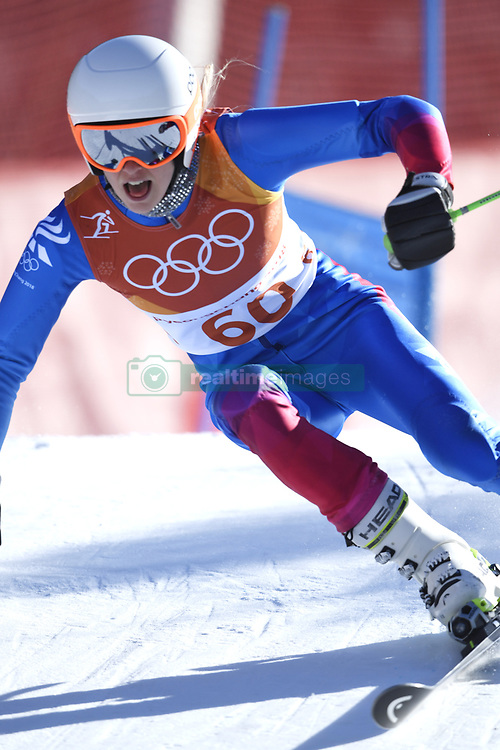 February 15, 2018 - Pyeongchang, South Korea - FREYDIS HALLA EINARSDOTTIR on her first run at the Womens Giant Slalom event Thursday, February 15, 2018 at the Yongpyang Alpine Centerl at the Pyeongchang Winter Olympic Games.  Photo by Mark Reis, ZUMA Press/The Gazette (Credit Image: © Mark Reis via ZUMA Wire)