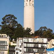 Coit Tower on Telegraph Hill in San Francisco, California. The tower was built in 1933 from funds bequeathed by Lillie Hitchcocl Coit.