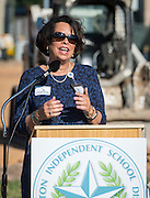 Dr. Jocelyn Mouton comments during a groundbreaking ceremony at Wilson Montessori, November 15, 2016.
