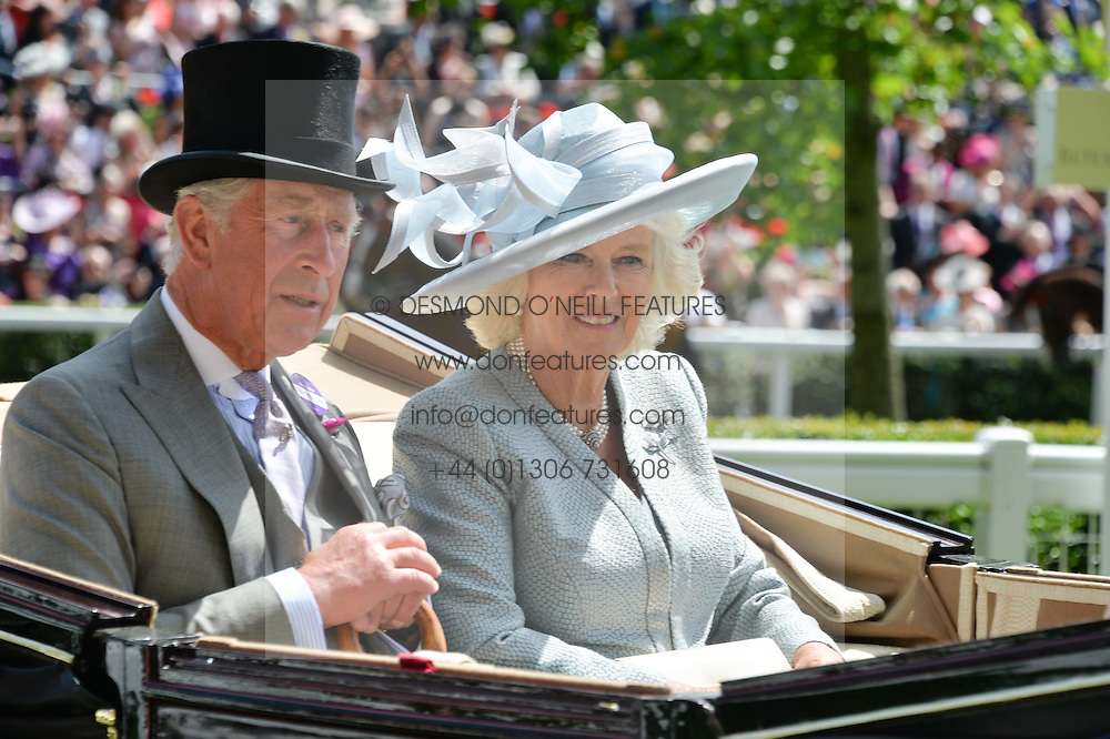 HRH The PRINCE OF WALES and HRH the DUCHESS OF CORNWALL at the first day of the 2014 Royal Ascot Racing Festival, Ascot Racecourse, Ascot, Berkshire on 17th June 2014.