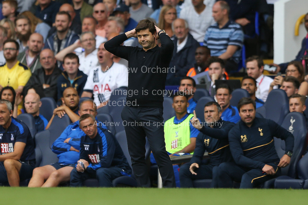 Mauricio Pochettino, the Tottenham Hotspur manager reacts after Harry Kane of Tottenham Hotspur misses a chance to score. Premier league match, Tottenham Hotspur v Crystal Palace at White Hart Lane in London on Saturday 20th August 2016.<br /> pic by John Patrick Fletcher, Andrew Orchard sports photography.