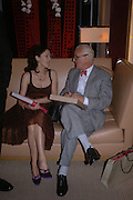 Lucy Ferry and Manolo Blahnik. Christopher Bailey hosts a party to celebrate the launch of ' The Snippy World of New Yorker Fashion Artist Michael Roberts' Burberry, New Bond St.  London. 19  September 2005. ONE TIME USE ONLY - DO NOT ARCHIVE © Copyright Photograph by Dafydd Jones 66 Stockwell Park Rd. London SW9 0DA Tel 020 7733 0108 www.dafjones.com