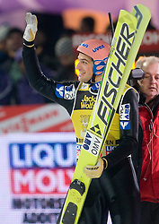 Andreas Kofler of Austria celebrates winning the 58th Four Hills ski jumping tournament at the medal ceremony, on January 6, 2010 in Bischofshofen, Austria.  (Photo by Vid Ponikvar / Sportida)