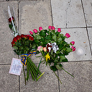 © Licensed to London News Pictures. STOCKHOLM. SWEDEN. 08/04/2017 Flowers left at the scene for a child. People lay flowers at the scene of yesterday's attack in Stockholm where a lorry mowed down several people in an apparent terrorist attack. Photo credit : Stephen Simpson/LNP