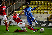 Peterborough United midfielder Siriki Dembele (10)is tackled by Fleetwood Town forward Wes Burns (7)  during the EFL Sky Bet League 1 match between Peterborough United and Accrington Stanley at London Road, Peterborough, England on 20 October 2018.