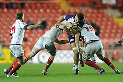 Bristol Rugby's replacement, Jake Polledri is challenged for the ball - Photo mandatory by-line: Dougie Allward/JMP - Mobile: 07966 386802 - 05/12/2014 - SPORT - Rugby - Bristol - Ashton Gate - Bristol Rugby v London Scottish - B&I Cup