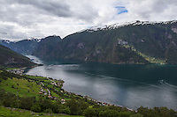 View towards Flam oveer Aurland and Aurlandsfjord from Stegastein viewpoint, Aurland - Norway, August