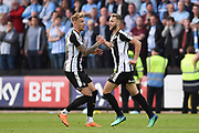Notts County midfielder Jorge Grant (10) celebrates after scoring a goal to make it 1-2 during the EFL Sky Bet League 2 match between Notts County and Coventry City at Meadow Lane, Nottingham, England on 18 May 2018. Picture by Jon Hobley.