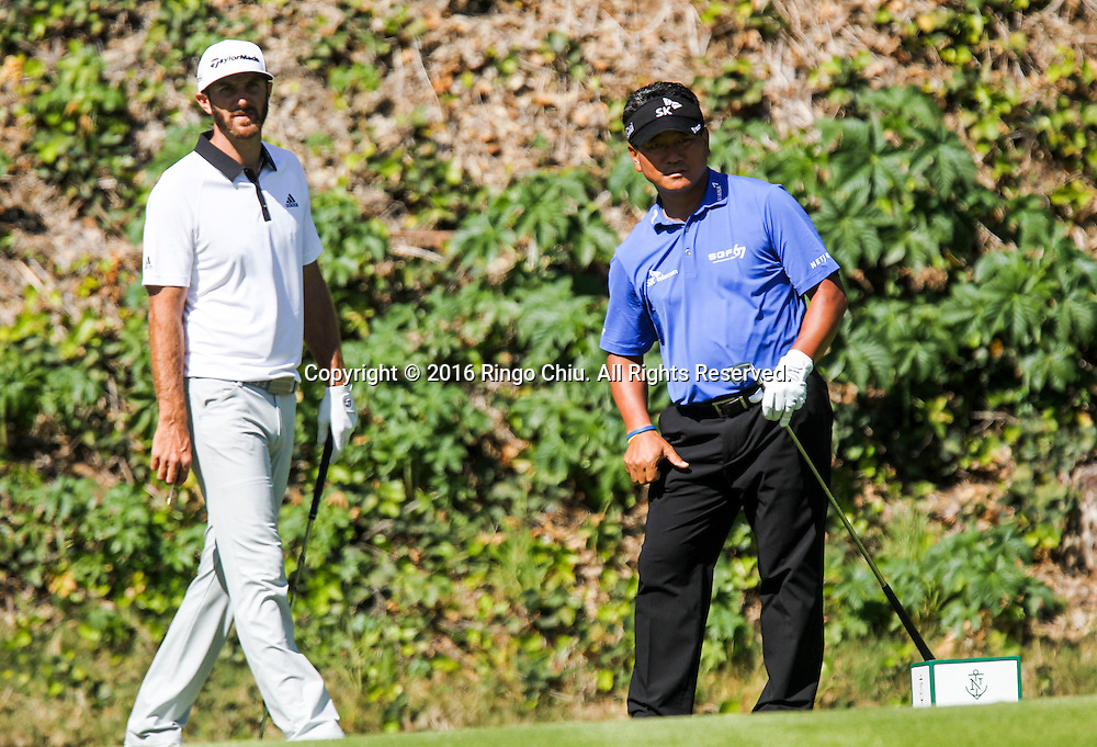 K.J. Choi, right, of South Korea, and Dustin Johnson play in the Final Round of the Northern Trust Open at the Riviera Country Club on February 21, 2016, in Los Angeles,(Photo by Ringo Chiu/PHOTOFORMULA.com)<br /> <br /> Usage Notes: This content is intended for editorial use only. For other uses, additional clearances may be required.