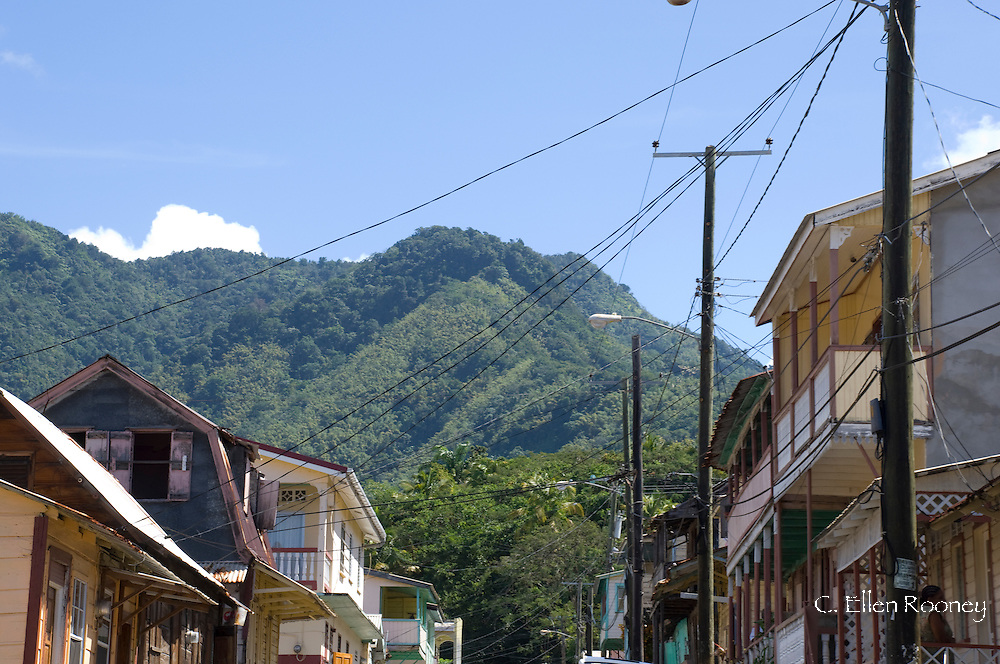 West Indian architecture in the town of Soufriere, St Lucia, The Windward Islands, The Caribbean