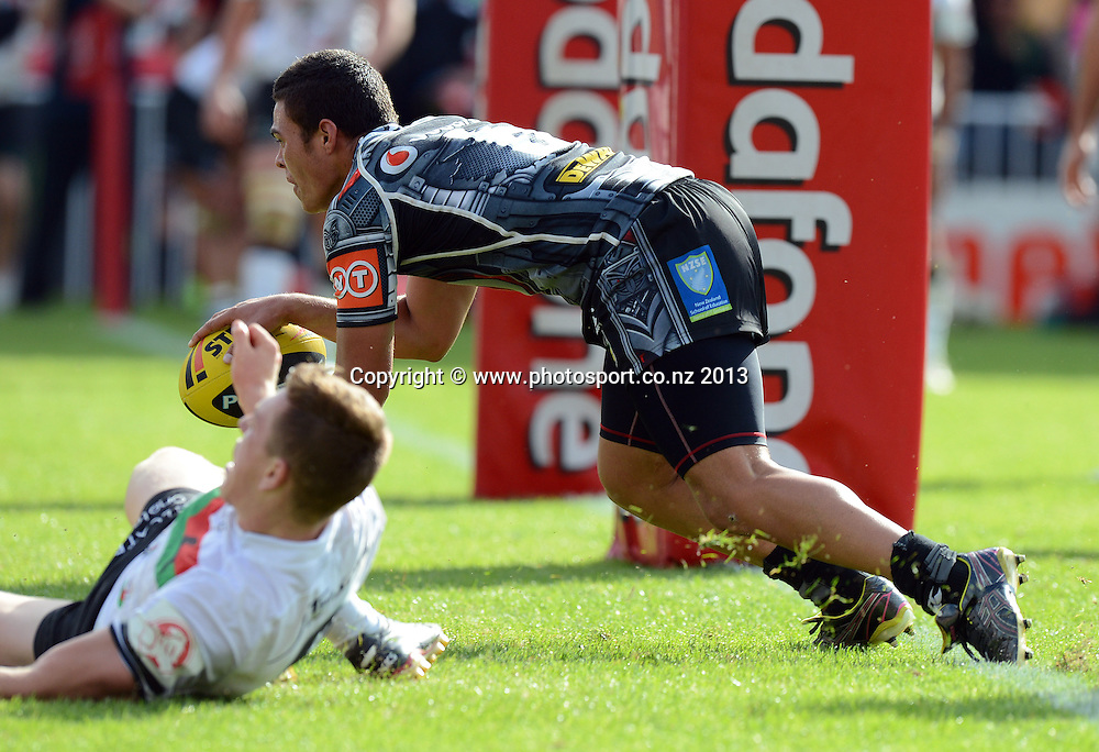 Tuimoala Lolohea scores a try. Holden Cup Rugby League match, Vodafone Junior Warriors v Junior Rabbitohs at Mt Smart Stadium, Auckland, New Zealand on Sunday 7 April 2013. Photo: Andrew Cornaga/Photosport.co.nz