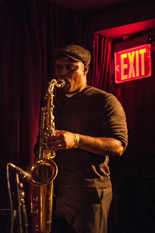 JD Allen plays sax with Jaimeo Brown's Transcendence band at the Zinc Bar during the 2013 Winter jazz Fest in New York City, January 11, 2013.