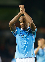 WEST BROMWICH, ENGLAND - Monday, August 10, 2015: Manchester City's captain Vincent Kompany applauds the supporters after his side's 3-0 victory over West Bromwich Albion during the Premier League match at the Hawthorns. (Pic by David Rawcliffe/Propaganda)