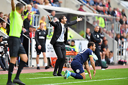 Derby County's Manager Frank Lampard gestures on the touchline