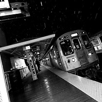 Chicago El Train at night, Damen Avenue stop along the Blue Line in the Wicker Park neighborhood.