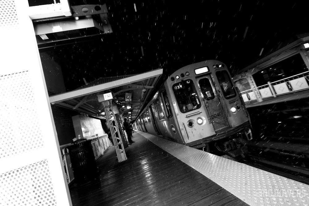 Chicago El Train at night, Damen Avenue stop along the Blue Line in the Wicker Park neighborhood.