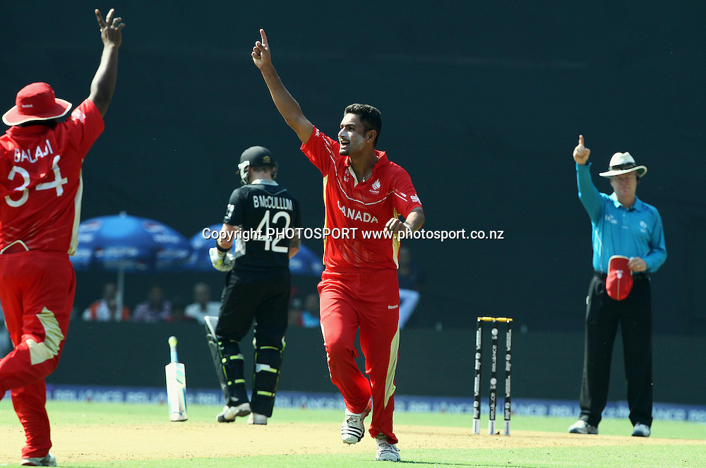 Canada bowler Harvir Baidwan celebrates New Zealand batsman Brendon McCullum  wicket During the ICC Wolrd Cup-2011 Canada vs New Zealand match Played at Wankhede Stadium, Mumbai