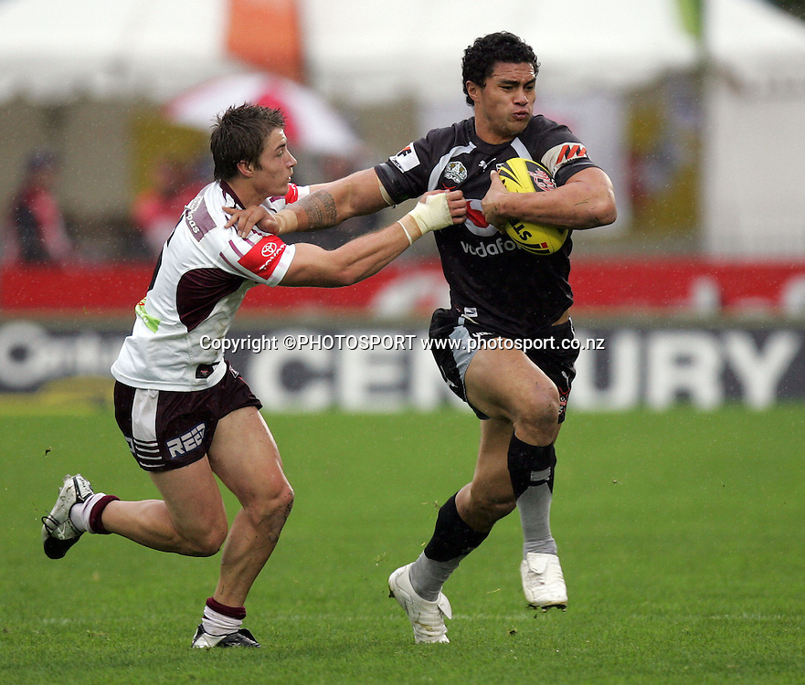 Sonny Fai put in the fend. Warriors won 38-10. Toyota Cup, rugby league, Vodafone U20 Warriors v U20 Sea Eagles, Mt Smart Stadium, Auckland, Sunday 22 June 2008. Photo: William Booth/PHOTOSPORT