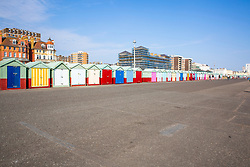 © Licensed to London News Pictures.11/04/2020. Brighton, UK. A nearly empty beach as members of the public in Brighton adhere to the Lockdown rules part of preventing the further spread of the Coronavirus. Photo credit: Hugo Michiels/LNP