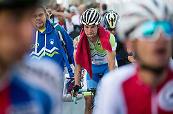 Gorazd Zuzek and Primoz Roglic of Slovenia after the Men Elite Road Race at 258.5km Race from Kufstein to Innsbruck 582m at the 91st UCI Road World Championships 2018 / RR / RWC / on September 30, 2018 in Innsbruck, Austria. Photo by Vid Ponikvar / Sportida