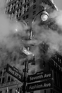 New York, Manhattan in the steam on 34street