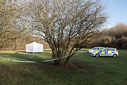 © Licensed to London News Pictures. 19/12/2017. Basildon, UK. Essex police guard the scene where a man was fatally attacked at Northlands Park, Pitsea, Essex. The attack happened about 5.30 pm on the 18th. The victim was pronounced dead at the scene. No cause of death has been released as yet. Photo credit : Simon Ford/LNP