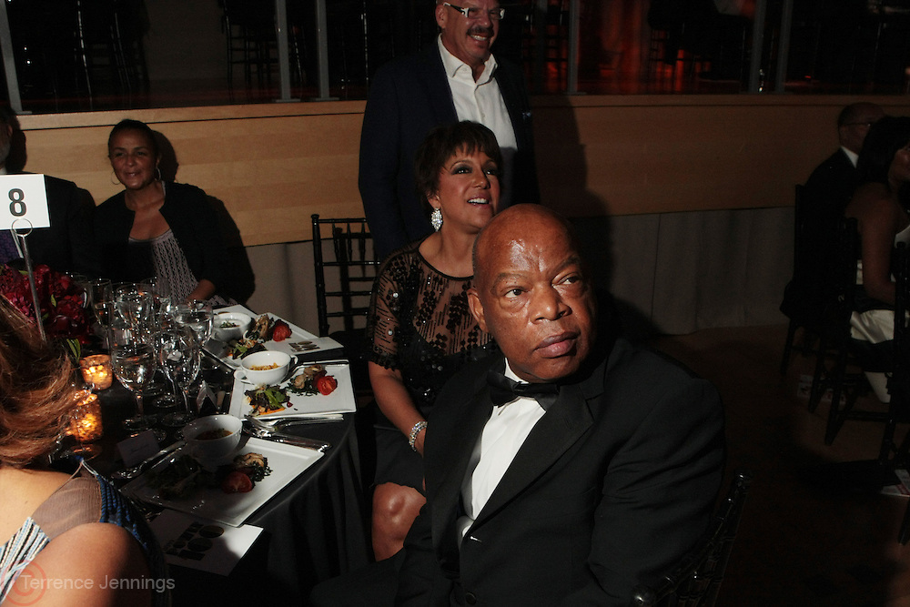 November 3, 2012- New York, NY: (L-R) On-Air Personality Gayle King, U.S. Congressman John Lewis, Linda Johnson Rice, Chairperson, Johnson Publishing Company and Media Personality Tom Joyner at the EBONY Power 100 Gala Presented by Nationwide held at Jazz at Lincoln Center on November 3, 2012 in New York City. The EBONY Power 100 Gala Presented by Nationwide salutes the country's most influential African Americans.(Terrence Jennings) .