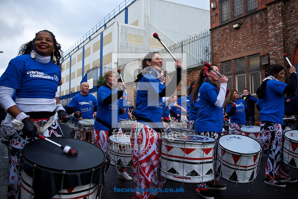 Picture by Ian Wadkins/Focus Images Ltd +44 7877 568959<br /> 01/02/2014<br /> General view of the exterior of the stadium showing Everton Community drum band s Premier League match at Goodison Park, Liverpool.