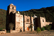 MEXICO, BAJA CALIFORNIA SOUTH the rugged Sierra de la Giganta with the San Javier Mission founded in 1701