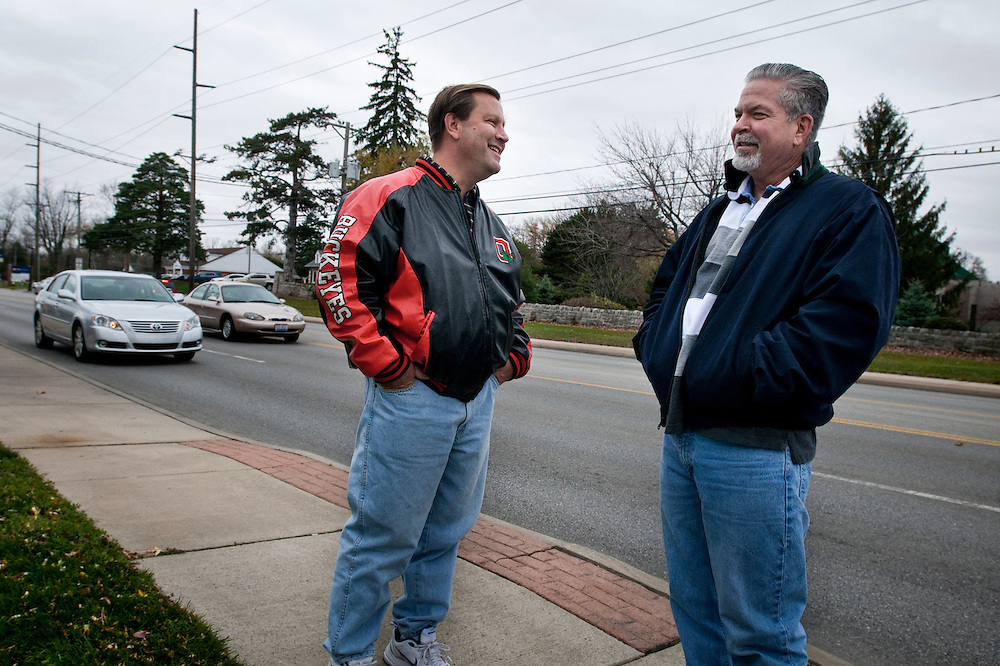 Daniel Lorigan, 52 (right in picture)  and Robert Jordan, 49, both employed at the Jeep plant in Toledo, Ohio that was saved by Obama's bailout of the auto industry, will vote differently in the upcoming election. Daniel will vote for Obama, while Robert will vote for Mitt Romney.