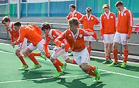 ROTTERDAM -  Warming Up Netherlands.  Practice Match  Hockey : Netherlands Boys U16  v England U16 . voorgrond Justin Blok (7) en Floris Middendorp (14) . COPYRIGHT KOEN SUYK