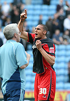 Photo: Mark Stephenson.<br />Coventry City v Queens Park Rangers. Coca Cola Championship. 07/04/2007. QPR's Marc Mygaard celabrates with the fans after the game