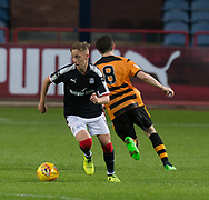 Dundee's Jack Lambert turns Alloa Athletic's Iain Flannigan - Dundee under 20s v Alloa Athletic in the Irn Bru Cup Round 1 at Dens Park, Dundee - photograph by David Young<br /> <br />  - &copy; David Young - www.davidyoungphoto.co.uk - email: davidyoungphoto@gmail.com