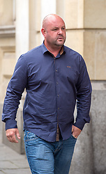 © Licensed to London News Pictures.  13/06/2018; Bristol, UK. Defendant MATTHEW EVANS arrives at Bristol Crown Court in connection with the Bulmer art burglary. Eleven men appeared at court charged with offences including conspiracy to burgle and conspiracy to receive stolen goods, linked to the theft of millions of pounds of artwork and jewellery from the Bulmer cider-making family's luxury home. The 11 men are: Liam Judge, Matthew Evans, Skinder Ali, Jonathan Rees, Donald Maliska, Mark Regan, David Price, Ike Obiamiwe, Thomas Lynch, Nigel Blackburn, Azhar Mir. Paintings worth £1.7m and jewellery worth £1m were stolen from Esmond and Susie Bulmer's home in Bruton, Somerset, in 2009. Most of the paintings stolen during the burglary, such as Endymion by 19th Century painter George Frederic Watts have since been recovered. Photo credit: Simon Chapman/LNP