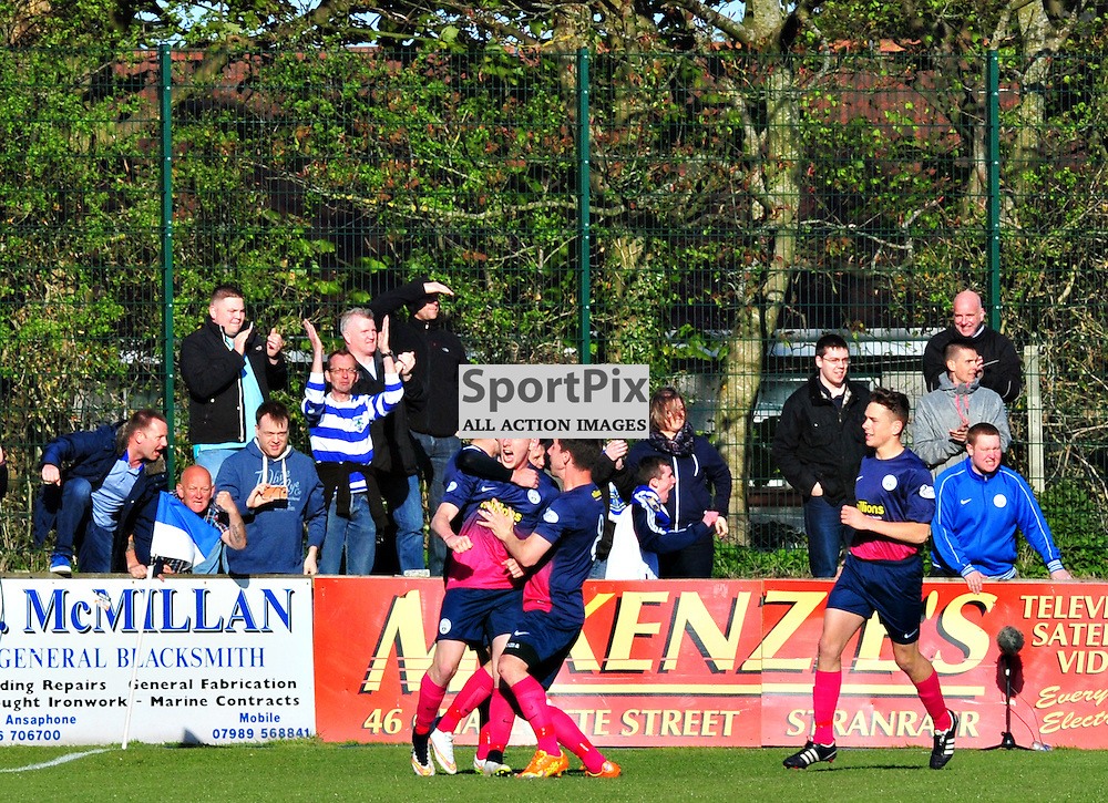 Morton's Declan McManus celebrates in front of his team's fans after opening the scoring againts Stranraer...(c) BILLY WHITE | SportPix.org.uk