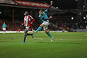 Jordan RHODES shooting during the Sky Bet Championship match between Brentford and Blackburn Rovers at Griffin Park, London, England on 13 December 2014.
