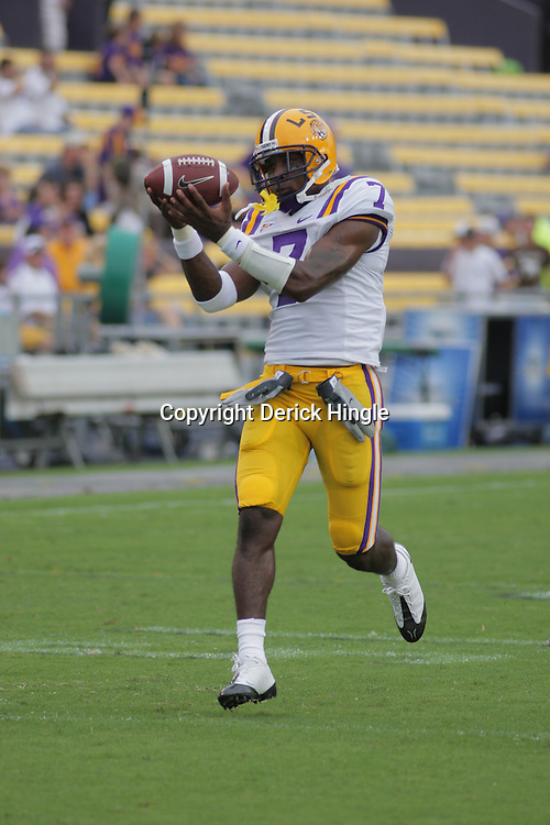 13 September 2008:  LSU cornerback Patrick Peterson (7) in pregame before the Tigers game against North Texas at Tiger Stadium in Baton Rouge, LA. The LSU Tigers defeated the Mean Green of North Texas 41-3.