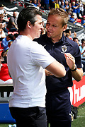 Fleetwood Town Manager Joey Barton and AFC Wimbledon Manager Neal Ardley during the EFL Sky Bet League 1 match between Fleetwood Town and AFC Wimbledon at the Highbury Stadium, Fleetwood, England on 4 August 2018. Picture by Craig Galloway.