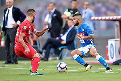 September 15, 2018 - Lorenzo Insigne of SSC Napoli is challenged by German Pezzella of ACF Fiorentina during the Serie A match between Napoli and Fiorentina at Stadio San Paolo, Naples, Italy on 15 September 2018. Photo by Giuseppe Maffia. (Credit Image: © AFP7 via ZUMA Wire)