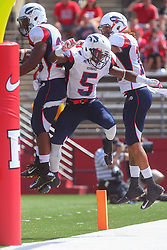 Sep 6, 2014; Piscataway, NJ, USA; Howard Bison running back Aquanius Freeman (20) celebrates his touchdown during the first half at High Points Solutions Stadium.