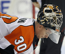 November 8, 2007; Newark, NJ, USA;  Philadelphia Flyers goalie Antero Niittymaki (30) rests during the second period at the Prudential Center in Newark, NJ.