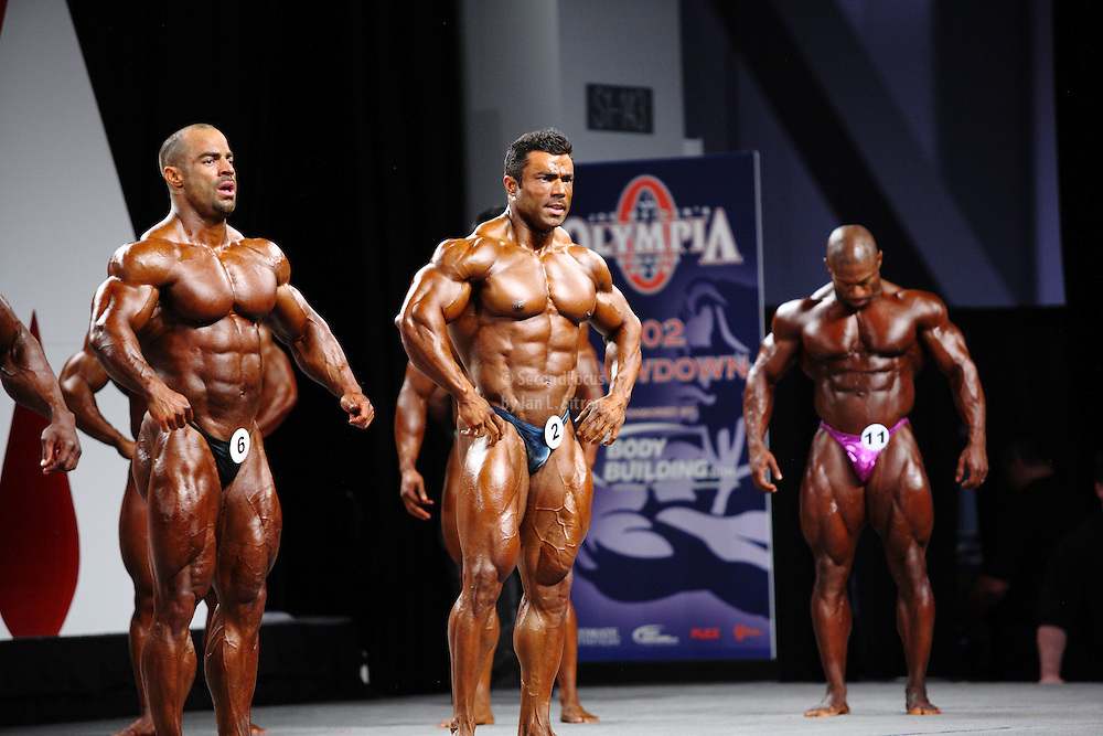 "On stage at the pre-judging for the 2009 Olympia 202 competition in Las Vegas..Mark Dugdale, Eduardo Correa Da Silva, Ricky ""Tricky"" Jackson"