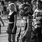 Nicole Mees prepares to start a qualifying race at the Sacramento Mile. In a sport known for machismo, females have traditionally been left to fill roles such as start grid sign holder or podium hostess, usually in high heels and skimpy dress.