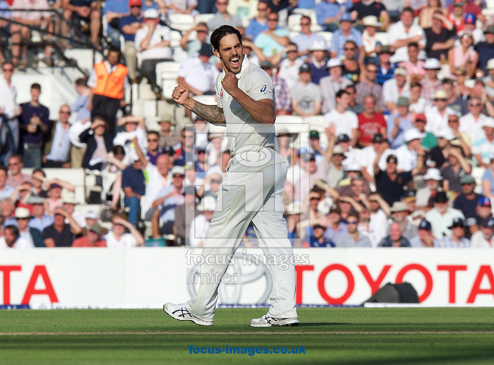 Mitchell Johnson of Australia celebrates taking the wicket of Jonny Bairstow of England during the 5th Investec Ashes Test Match match at the Kia Oval, London<br /> Picture by Alan Stanford/Focus Images Ltd +44 7915 056117<br /> 21/08/2015
