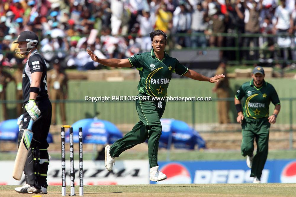 Shoaib Akhtar celebrates Brendon McCullum's wicket. ICC Cricket World Cup. New Zealand vs Paksitan. Pallekele Cricket Stadium, Kandy, Sri Lanka. Tuesday 8 March 2011. Photo: photosport.co.nz