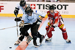 Jensen TAIAPASKINNON of New Zealand vs Marco QUINZ of Austria at IIHF In-Line Hockey World Championships 2011 Division 1 quarter final match between National teams of Austria and New Zealand on June 23, 2011, in Pardubice, Czech Republic. (Photo by Matic Klansek Velej / Sportida)
