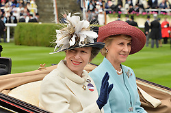 Left to right, HRH The PRINCESS ROYAL and HRH The DUCHESS OF GLOUCESTER at day one of the Royal Ascot 2016 Racing Festival at Ascot Racecourse, Berkshire on 14th June 2016.